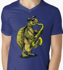 Turtle Playing The Saxophone Men's V-Neck T-Shirt