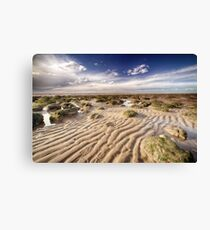 Golden sand lines and seaweed rocks of Norfolk Canvas Print