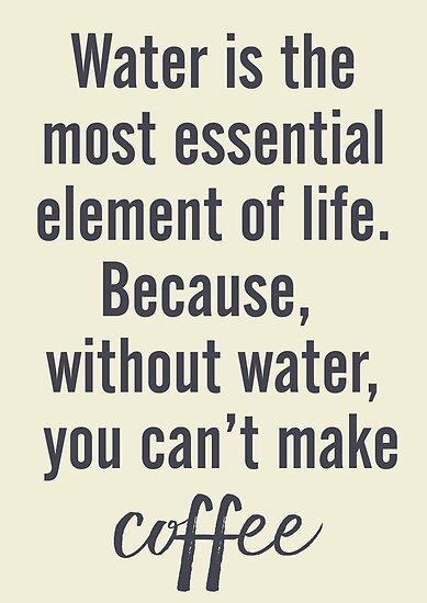 Water Is Essential For Coffee Wall Art Humor Fun Funny Extraordinary Funny Inspiration