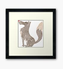 retro cartoon wolf Framed Print