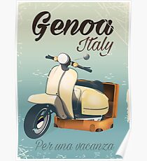 Genoa Italy For a vacation vintage poster  Poster