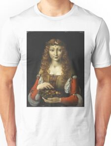 Attributed To Giovanni Ambrogio De Predis - Girl With Cherries Unisex T-Shirt