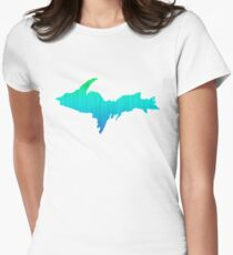 UP Upper Peninsula Blue Green Ombre Graphic Yooper 906 Shirt Womens Fitted T-Shirt
