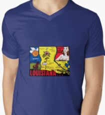 Louisiana State Map Vintage Travel Decal Men's V-Neck T-Shirt