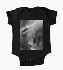 Abstract Fight in the Ocean,  Black and White Painting One Piece - Short Sleeve