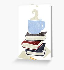retro cartoon books and coffee cup Greeting Card