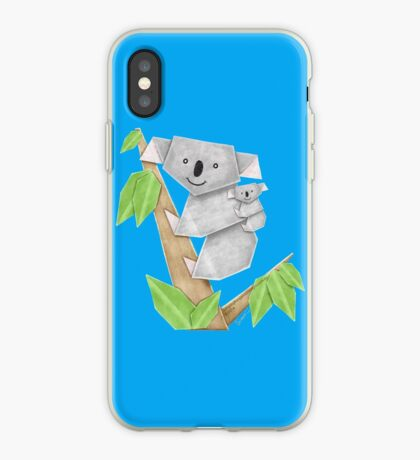 Cuddly Koala with cute Baby Origami iPhone Case