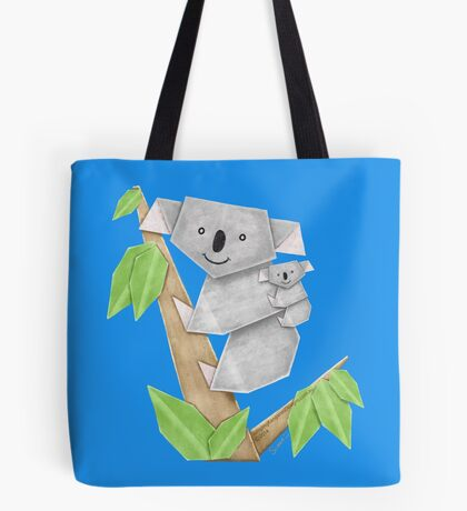 Cuddly Koala with cute Baby Origami Tote Bag