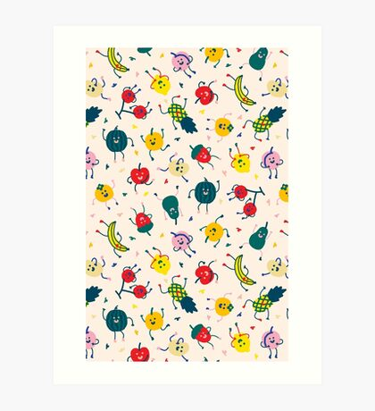 Happy Fruits Art Print