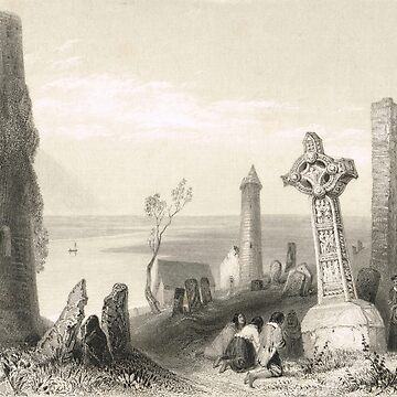 Ancient Cross Clonmacnoise, Offaly, Ireland 1841 by artfromthepast