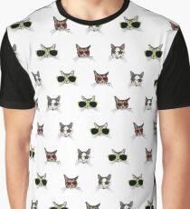 Cat Glasses Pattern Graphic T-Shirt