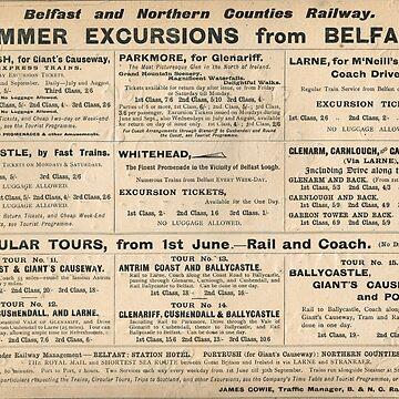 Belfast Railway Advert excursions 1902 by artfromthepast