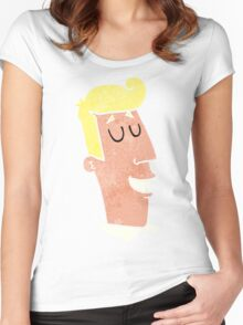 retro cartoon grinning man Women's Fitted Scoop T-Shirt
