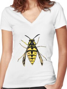 Wasp vector Women's Fitted V-Neck T-Shirt