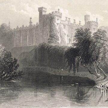 Engraving Kilkenny Castle, Ireland 1841 by artfromthepast