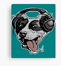 Cute Pit Bull Dog With Music Headphones Canvas Print