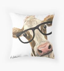 Funny Cow art, cow with glasses art Throw Pillow