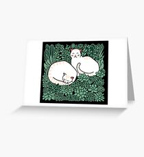 Cats in a succulent garden Greeting Card