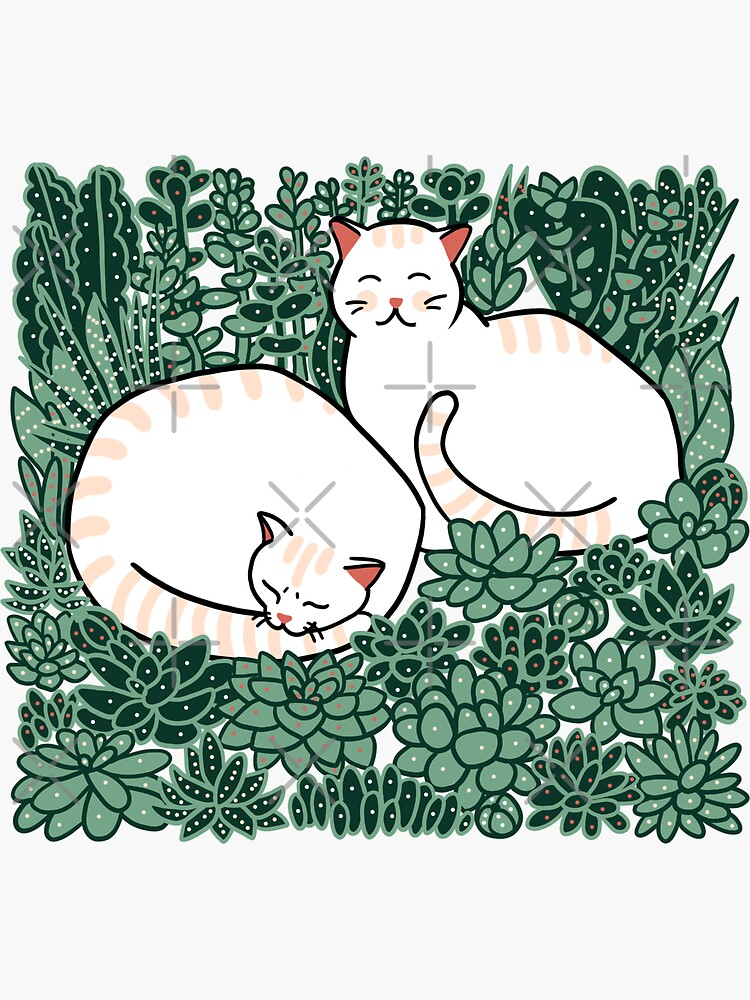 Cats in a succulent garden by Elenanaylor