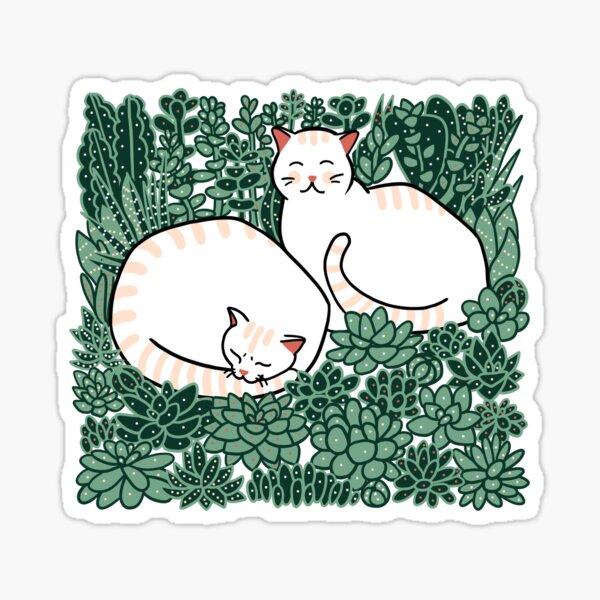 Cats in a succulent garden Sticker