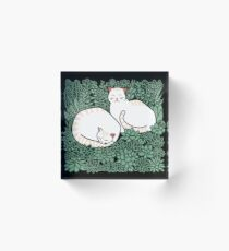 Cats in a succulent garden Acrylic Block