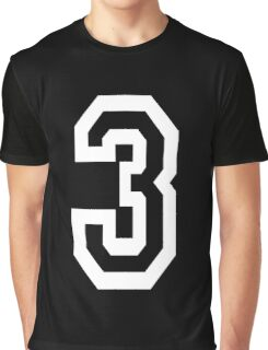 3, TEAM SPORTS, NUMBER 3, THREE, THIRD, Competition, Tri, Triple, white on black Graphic T-Shirt