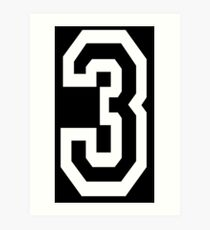 3, TEAM SPORTS, NUMBER 3, THREE, THIRD, Competition, Tri, Triple, white on black Art Print