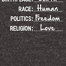 Erde, Mensch, Freiheit und Liebe von kjanedesigns