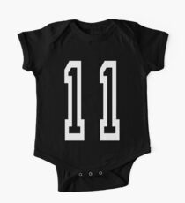 Eleven, 11, TEAM SPORTS, NUMBER 11, Eleventh, Competition, white on black Kids Clothes