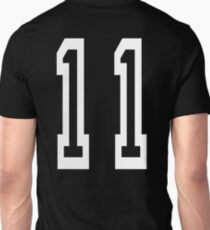 Eleven, 11, TEAM SPORTS, NUMBER 11, Eleventh, Competition, white on black Unisex T-Shirt