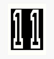 11, TEAM SPORTS, NUMBER 11, Eleven, Eleventh, Competition, white on black Art Print