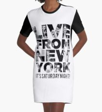 'Live From New York' - Saturday Night Live Early Cast Graphic T-Shirt Dress