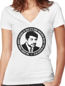 Neil deGrasse Tyson Quote Women's Fitted V-Neck T-Shirt