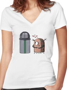 T-LUV Robot Women's Fitted V-Neck T-Shirt