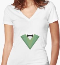 Green Tuxedo Suit with bow tie R3qgb Women's Fitted V-Neck T-Shirt