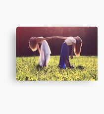 Dancing girls holding hands Canvas Print