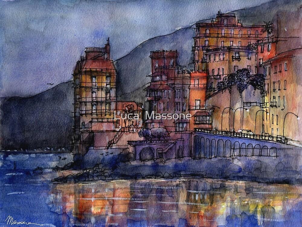 Palazzi sul mare al crepuscolo by Luca Massone  disegni