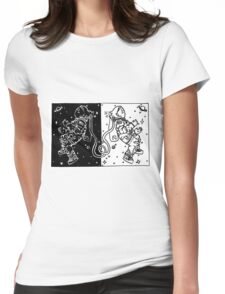 Mirrored astronauts Womens Fitted T-Shirt