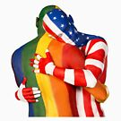 Rainbow + USA flags by Love Is Love Art by Robin Slonina