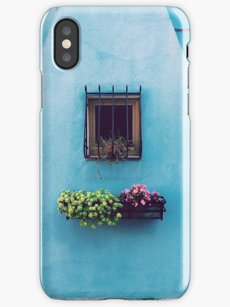 Blue house with flowers by JagerWorks
