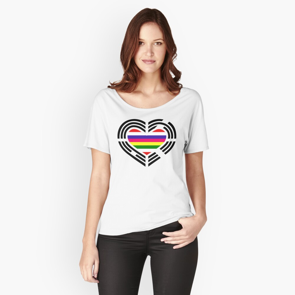 Korean Patriot Flag Series (Heart) Women's Relaxed Fit T-Shirt Front