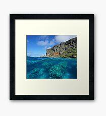 over under sea coastal cliff rocks underwater Framed Print