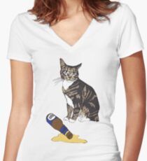 Cat & Spilled Beer Women's Fitted V-Neck T-Shirt