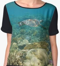 Underwater coral reef sea turtle Women's Chiffon Top