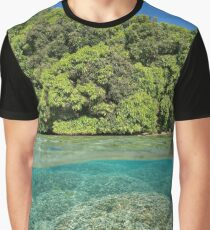 over under sea foliage tropical shore coral Graphic T-Shirt