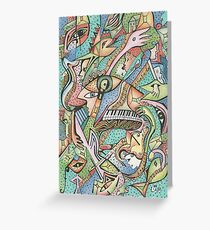 Flying Fishes, Guitars & Piano Greeting Card