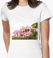 Pink frangipanis Women's Fitted T-Shirt