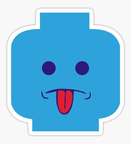 Rude Minifig Face Sticking Tongue Out Sticker