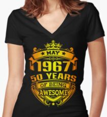 may 1967 gold Women's Fitted V-Neck T-Shirt