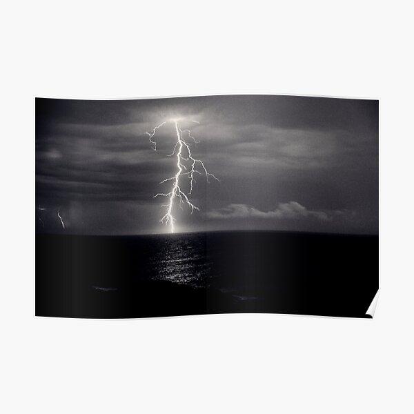 Dusk lightning over sea Poster